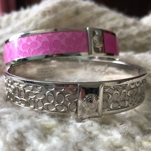 Coach signature bangles silver and pink
